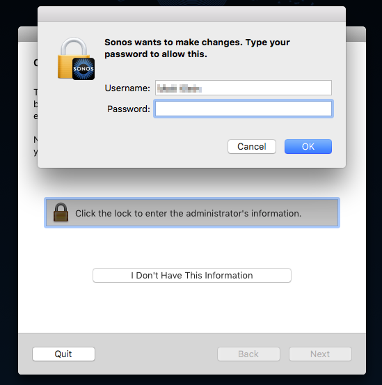 User password entry request pop-up on Mac