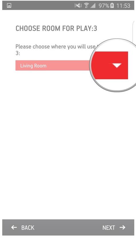 Sonos app highlighting the select a room dropdown box.