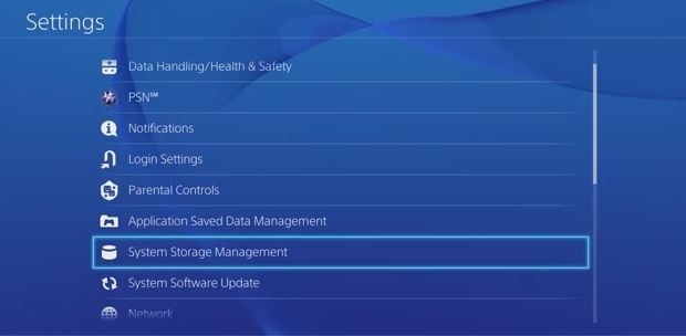 Settings menu with Storage Data Management selected. Screenshot.