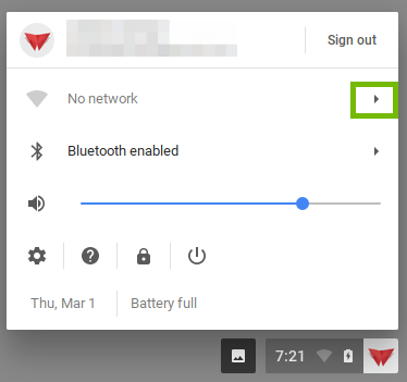 screenshot of user menu with Wi-Fi settings triangle highlighted