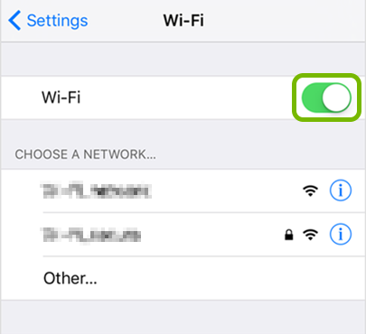 Wi-Fi toggle switch highlighted in iOS settings.