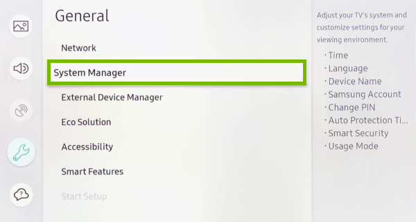 System Manager option highlighted in settings menu of Samsung Smart TV.