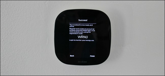 Registration screen on Ecobee thermostat