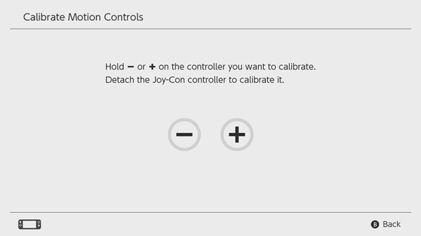 Nintendo Switch calibrating motion controls