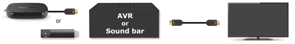 Roku connected to TV through AVR.