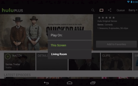 Hulu app cast screen displaying a list of available devices to cast to.