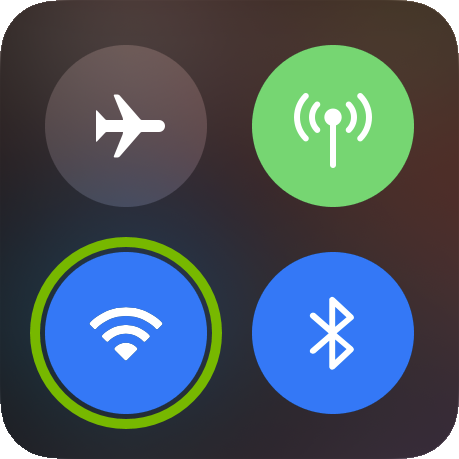 WiFi icon highlighted in iOS control center.