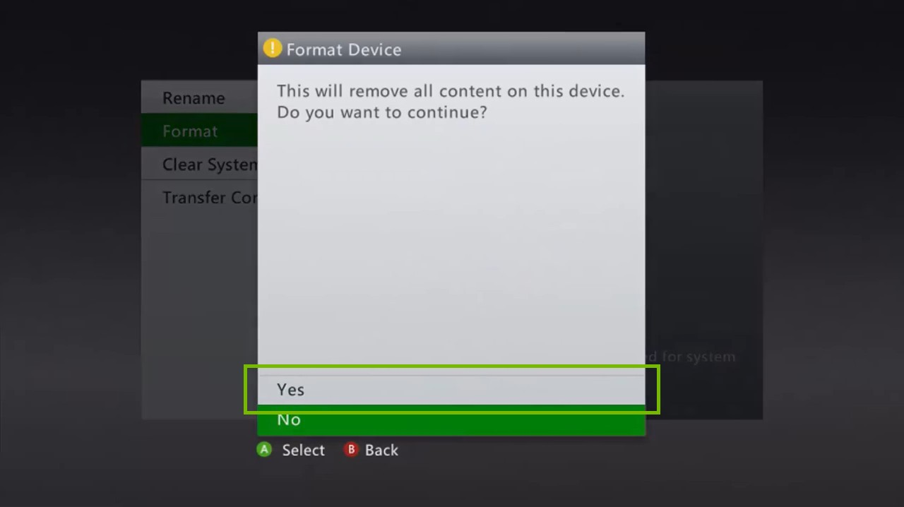 Xbox 360 Format Device warning prompt, highlighting the yes option.
