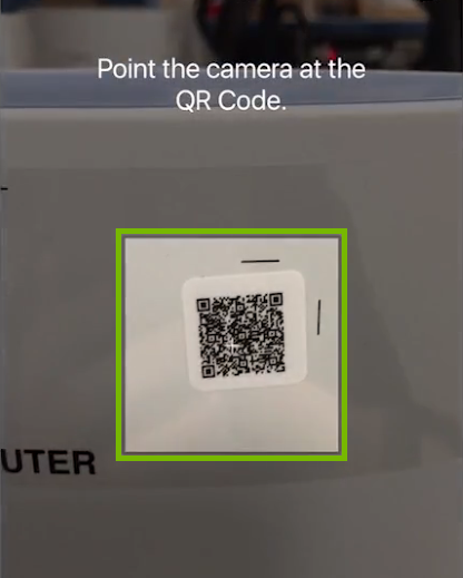 QR code scanning area highlighted in Orbi app.