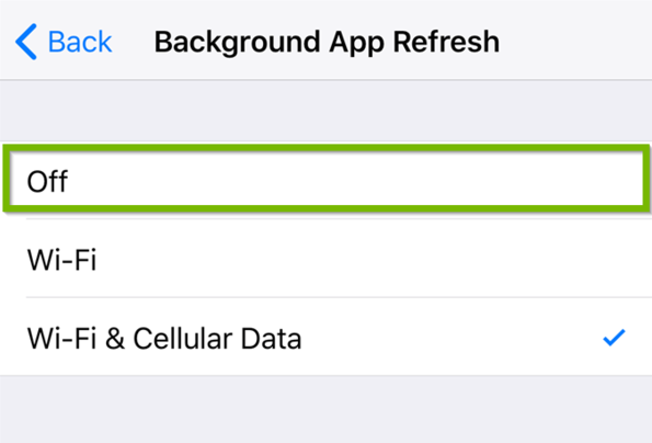 Background App Refresh options with Off highlighted.