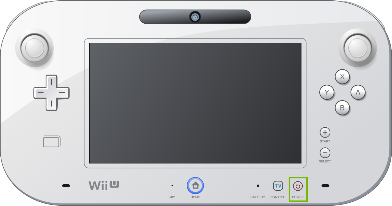Wii U controller with power button highlighted.