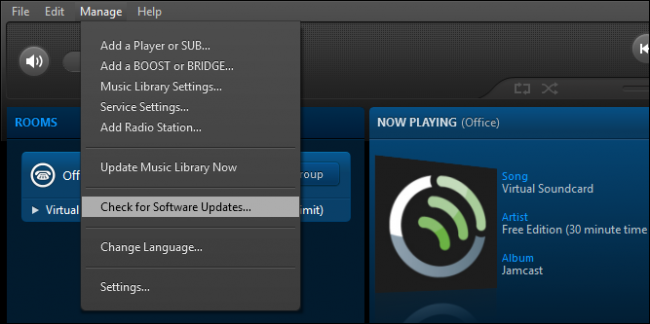 Checking for software updates option in Sonos Controller menu