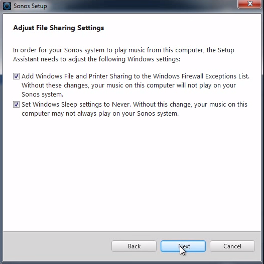 File sharing and Energy Saver Settings adjusment in Sonos Setup on PC