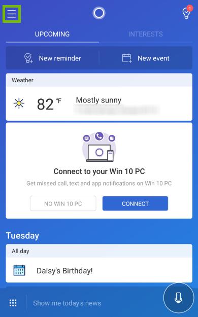 Menu icon highlighted in Cortana app.