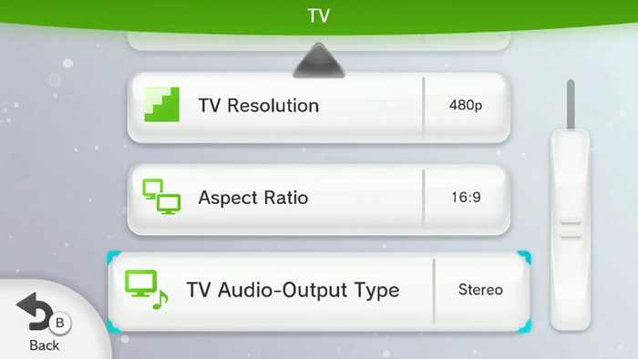 TV settings screen with TV resolution, Aspect ratio and TV audio-output type settings.