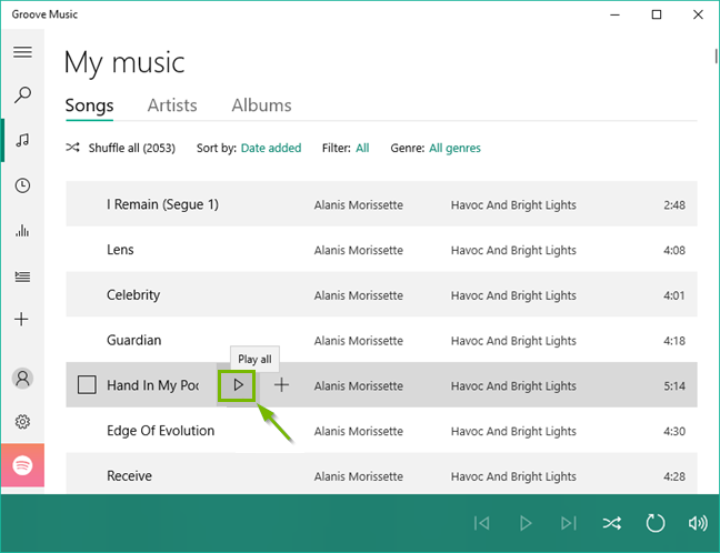 Groove music browsing my music library.