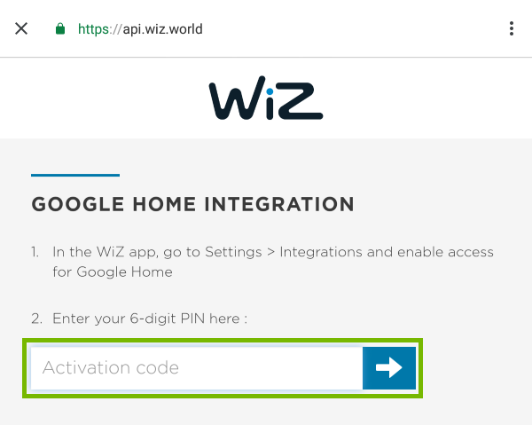 Activation code entry field highlighted Google Integration screen for WiZ devices.