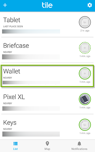 Tile app with example device selected in order to find it. Screenshot.