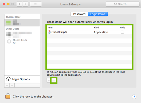 Users and Groups Login Items with items list and minus sign highlighted.