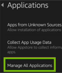 Manage All Applications option highlighted on Applications screen