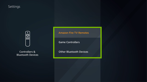 Bluetooth device categories highlighted in Fire TV settings.