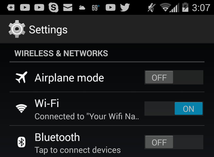 Android Settings Wi-fi. Screenshot