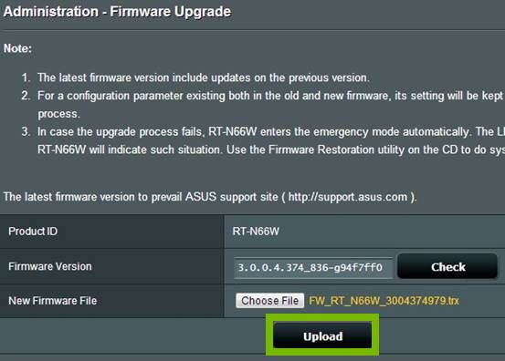 Firmware Upgrade page with Upload button selected. Screenshot.