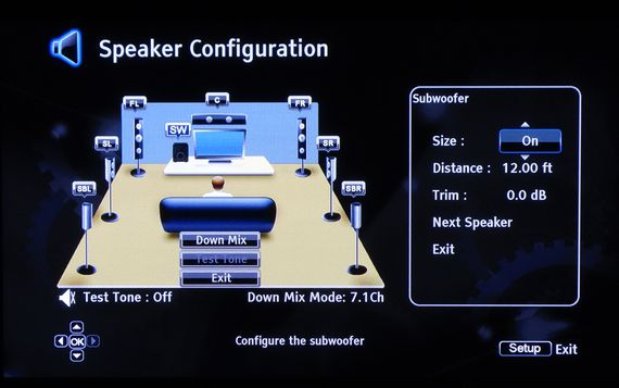 AV receiver speaker configuration screen.