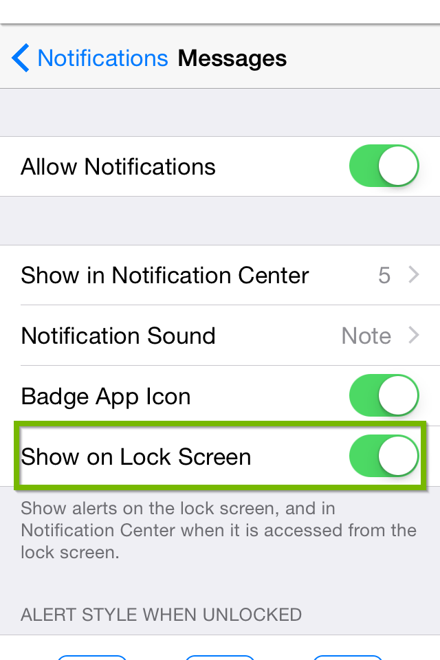notification settings with show on lock screen switch highlighted