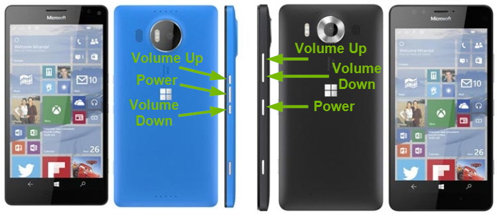 Different button layouts pointed out on Windows phones