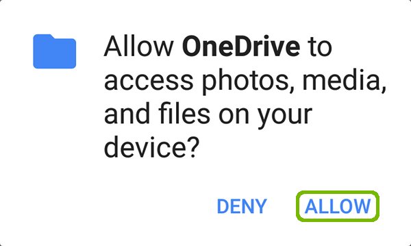 OneDrive request to access photos with Allow highlighted.