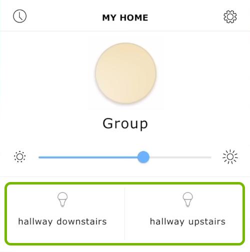 Lights highlighted in Ikea Tradfri app.