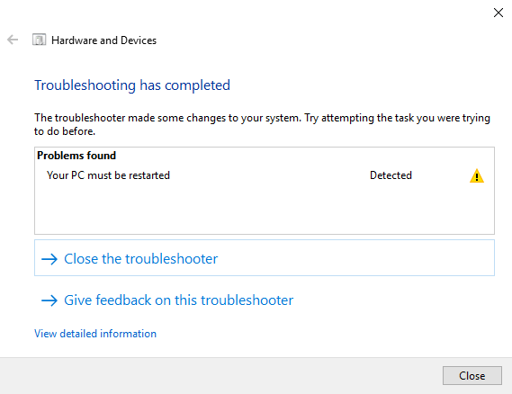 Windows troubleshooting completed.