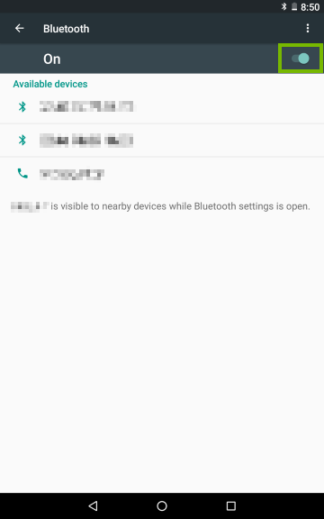 Bluetooth device selection screen on Android.