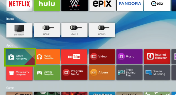Google Play Store tile highlighted on Android TV home screen.