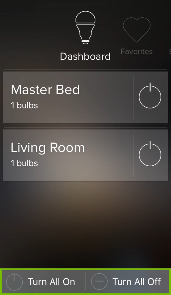 Turn All On or Off buttons highlighted at the bottom of group list in ilumi app.