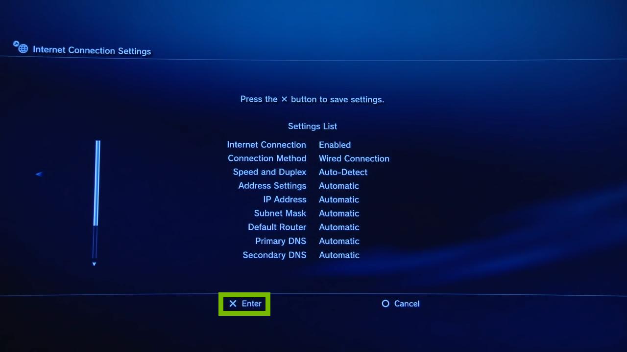 Settings List. Screenshot.