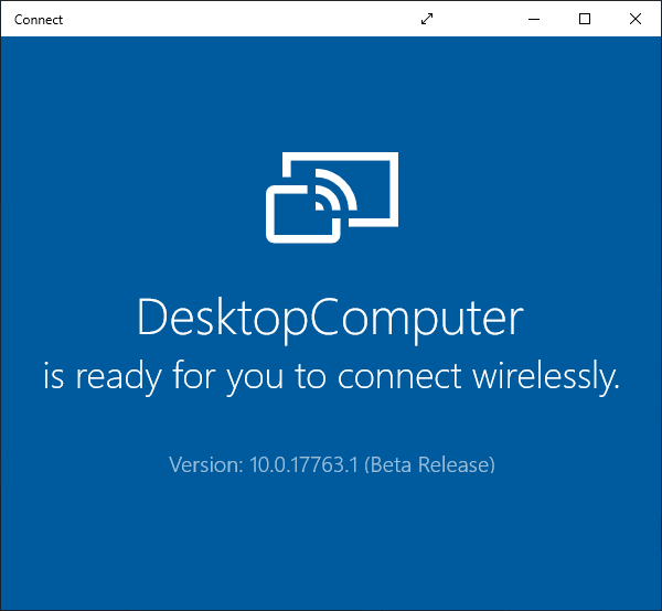 Connect window, ready to connect.