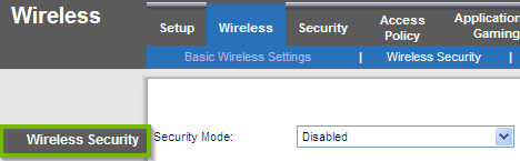 Wireless Security. Screenshot.