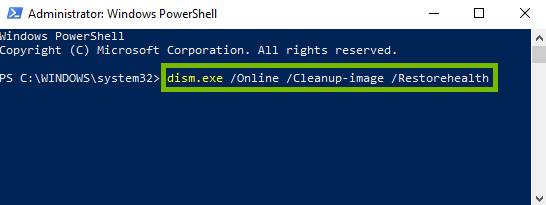 PowerShell with dsim command entered