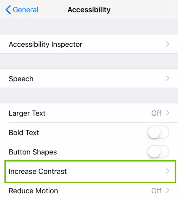 Accessibility settings with Increase Contrast highlighted.