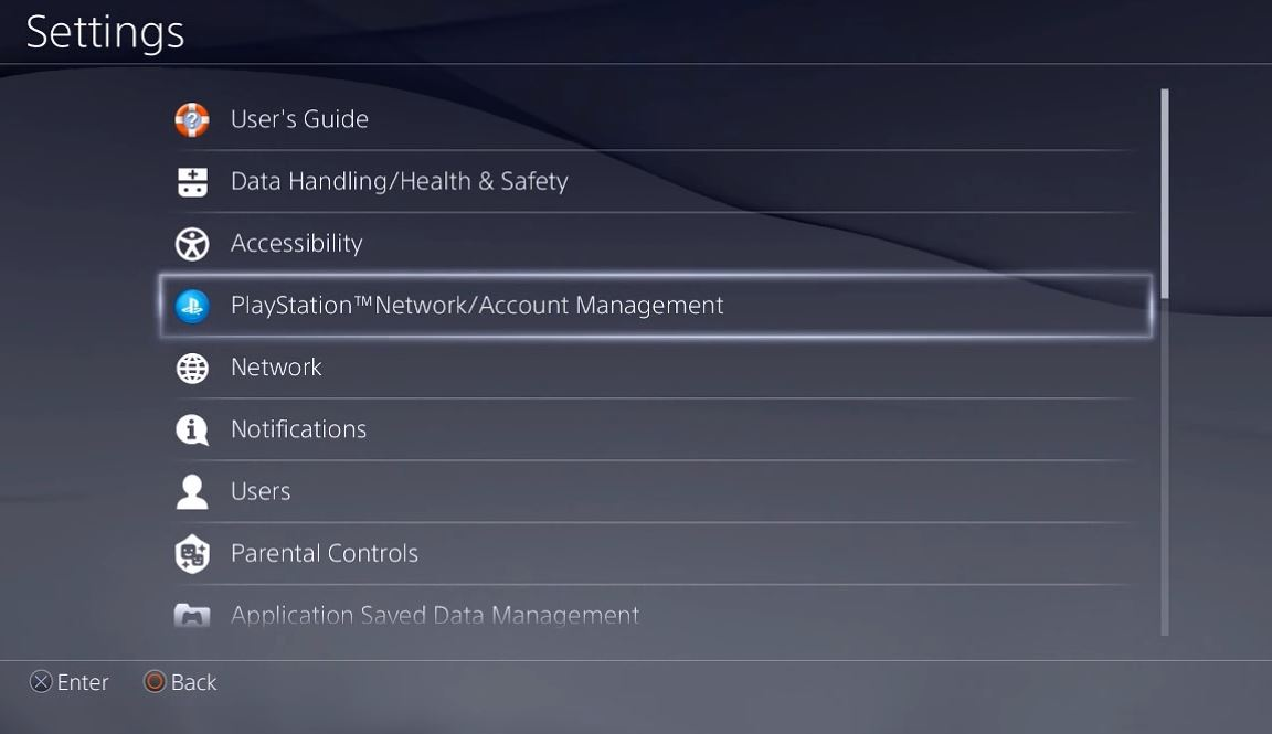 Settings menu with PlayStation Network Account Management selected. Screenshot.