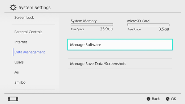 Switch's data management screen