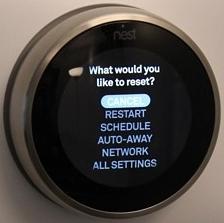 Nest thermostat reset menu highlighting the restart option.