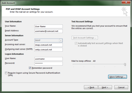 Comcast account settings for Outlook