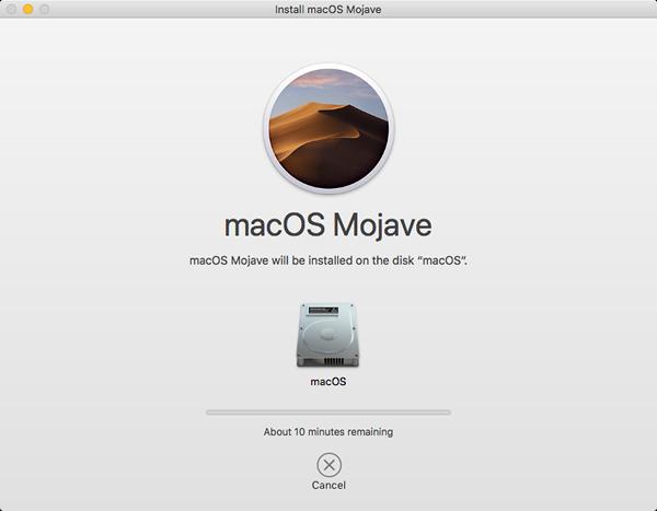 Mojave installer downloading necessary upgrade files.