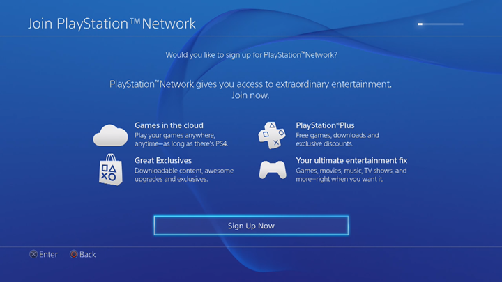 PlayStation Network sign up screen.