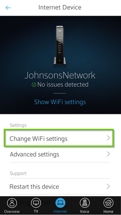 Xfinity my account change wifi settings option