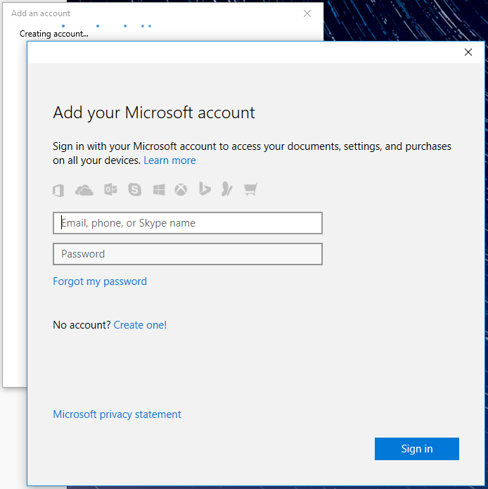 Add a microsoft account to windows mail screen.