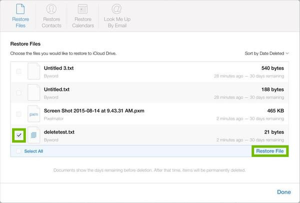 File restore with file checked and Restore File highlighted.